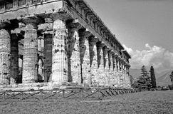 Temple of Paestum. Ancient greek temple. Scanned black and white film photo. High resolution Stock Images