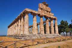 Temple in Paestum, Italy. This picture shows the temple of Ceres / Athena in Paestum, Italy Royalty Free Stock Photo