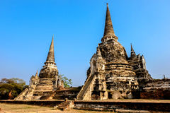 Temple pagoda. Pagoda in Ayutthaya Historical Park, Thailand royalty free stock photo