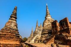 Temple pagoda. Pagoda in Ayutthaya Historical Park, Thailand royalty free stock photography