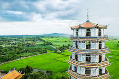 Temple pagoda in green field scenic famous Royalty Free Stock Photography