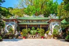 Pagoda at marble mountains, Danang. Temple pagoda at the marble mountains in Danang city in Vietnam royalty free stock images