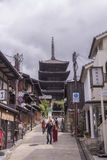 Temple Pagoda over Japanese street royalty free stock images