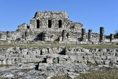 Temple of the Pained Niches. This is a picture of the iconic Temple of the Pained Niches located in the Mayapán Archeological Zone in Mayapán, Mexico.  The Stock Images