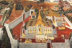Temple painting bangkok thailand ramakien. Wat phra kea temple painting ramayana yaksha.Generality in Thailand,any kind of art decorated in Buddhist church Royalty Free Stock Photography