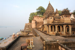 Temple palace of Maheshwar on India Stock Photography