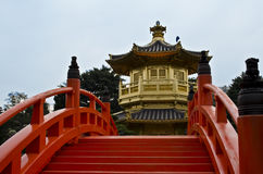 Temple in the park of Hong Kong Stock Image