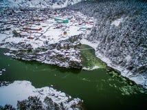 Temple, patmos, altai, une vue d'air Photographie stock libre de droits