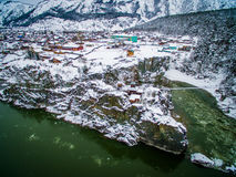 Temple, patmos, altai, a view from air Stock Photos