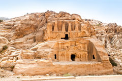 Temple in Petra. Jordan. Temple in Petra. Made by digging a holes in the rocks and cutting the hill. Jordan Stock Photo