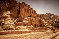 Temple in petra. Petra, Jordan. UNESCO heritage. View of one of the countless temples in the ancient city, a popular destination for tourists from all over the stock images