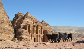 Temple in Petra. Temple on the top of Petra with goats Stock Photo