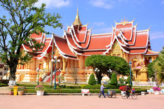 Temple at Pha That Luang complex, Vientiane, Laos Royalty Free Stock Photos