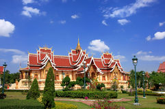 Temple at Pha That Luang complex, Vientiane, Laos Stock Image