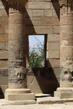 Temple philae. Columns and window in the temple of philae which is consecrated to the goddess isis Stock Image