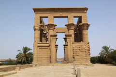 Temple of Philae. Exterior of ruined temple of Philae on island in center of Nile river, Egypt Stock Photography