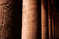 Temple of Philae. Ancient Egyptian artwork in Temple of Philae near Aswan, Egypt Stock Image