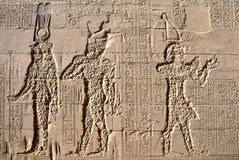 Temple of Philae. Ancient Egyptian artwork in Temple of Philae near Aswan, Egypt Royalty Free Stock Photo