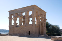 Temple of Philae. Exterior of ruined temple of Philae on island in center of Nile river, Egypt Stock Photos