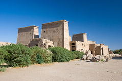 Temple of Philae. Exterior of ruined temple of Philae on island in center of Nile river, Egypt Royalty Free Stock Photography