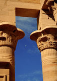 Temple of Philae, Aswan , Egypt. The moon at the temple of Philae, Aswan, Egypt Royalty Free Stock Photo