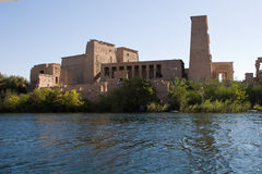 Temple of Philae from the Nile. View of the Temple of Philae from a boat Stock Image
