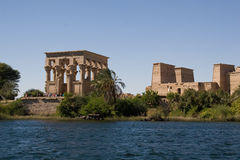 Temple of Philae view from the Nile. View of the Temple of Philae from a boat Stock Photos