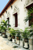 Temple with plants in Bangkok royalty free stock photos