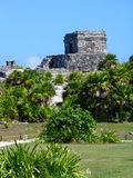 Temple with plants at Tulum in Mexico Stock Photo