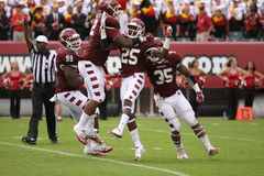 Temple players celebrate a sack Royalty Free Stock Images