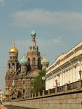 The temple is pleasing to the Savior on spilled blood. Saint-Petersburg. Russia. View of Church of the Savior on spilled blood with embankment in St. Petersburg stock photos