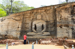 Temple at Polonnaruwa, Srilanka. This photo was taken in Anuradhapura, Srilanka on September 29th, 2012. Anuradhapura is an ancient city, located at a distance stock photos