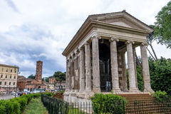 Temple of Portunus and Basilica of Saint Mary in Cosmedin - Rome, Italy Royalty Free Stock Photo