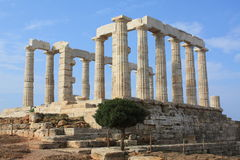 Temple of Poseidon. Remains of Temple of Poseidon, god of the sea in ancient Greek mythology, at Cape Sounion, near Athens (Greece stock images