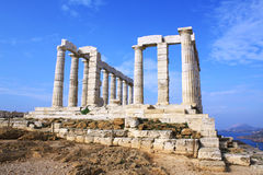 Temple of Poseidon. Remains of Temple of Poseidon, god of the sea in ancient Greek mythology, at Cape Sounion, near Athens (Greece Stock Photo