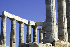 Temple Of Poseidon. Greek ruins located on Cape Sounion, Athens, Greece Royalty Free Stock Image