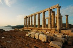 The temple of Poseidon. In Athens, Sounio,Greece Stock Photos
