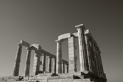 Temple Of Poseidon. Greek ruins located on Cape Sounion, Athens, Greece Stock Photos