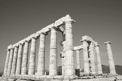 Temple of Poseidon. Greek ruins located on Cape Sounion, Athens, Greece Stock Image