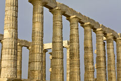 Temple of Poseidon at cape sounio, Greece. Sanctuary and temple of Poseidon at cape sounio, Attica, near Athens city at Greece stock image