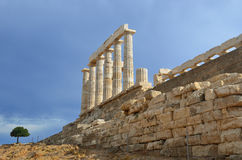 Temple of Poseidon at Cape Sounion Attica Greece Stock Image