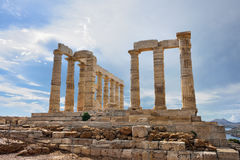 Temple of Poseidon at Cape Sounion Attica Greece Stock Images