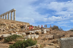 Temple of Poseidon at Cape Sounion Attica Greece Stock Images