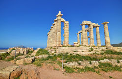 Temple of Poseidon at Cape Sounion Greece stock photography