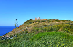 Temple of Poseidon at Cape Sounion Greece stock photo