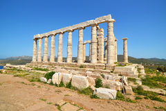 Temple of Poseidon at Cape Sounion Greece stock images