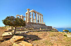 Temple of Poseidon at Cape Sounion Greece stock photos