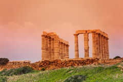 Temple of Poseidon on cape Sounion, Greece Stock Photos