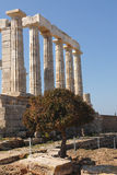 Temple Poseidon, Cape Sounion in Greece. Cape Sounion is a promontory at the southernmost tip of the Attica peninsula in Greece. Cape Sounion is noted as the Royalty Free Stock Images
