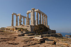 Temple Poseidon, Cape Sounion in Greece. Cape Sounion is a promontory at the southernmost tip of the Attica peninsula in Greece. Cape Sounion is noted as the Royalty Free Stock Photography